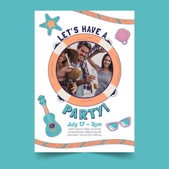 写真と手描きの夏のパーティー垂直ポスターテンプレート