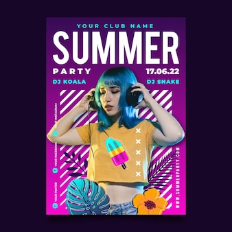 Hand drawn summer party vertical poster template with photo