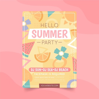 Hand drawn summer party vertical poster template