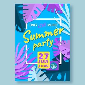 손으로 그린 여름 파티 수직 포스터 템플릿