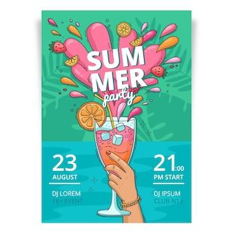 Ручной обращается летняя вечеринка вертикальный шаблон плаката