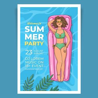 Modello di poster verticale festa estiva disegnata a mano