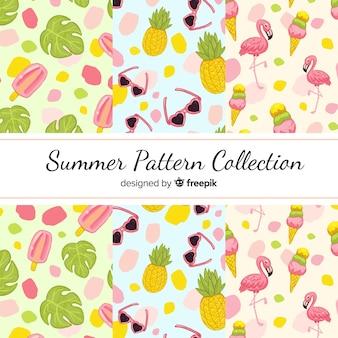 손으로 그린 여름 패턴 컬렉션