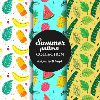Hand drawn summer pattern collection