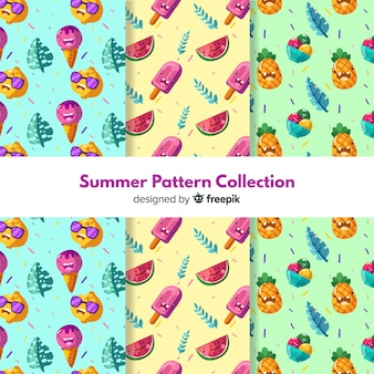 Hand drawn summer pattern pack