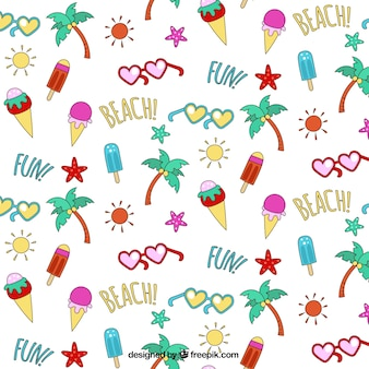 Hand drawn summer pattern with sunglasses and ice-creams