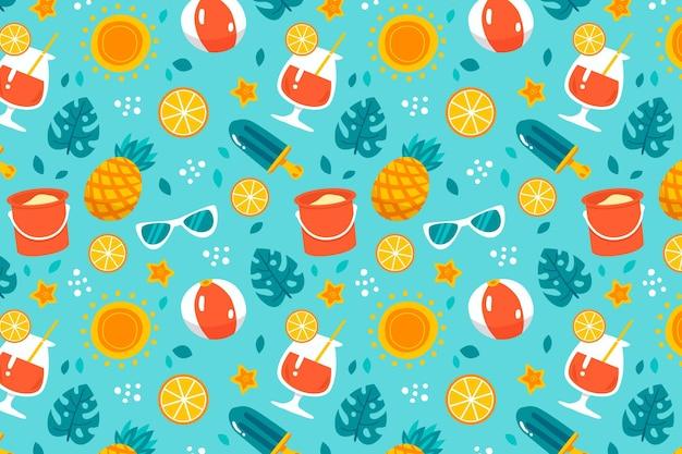 手描きの夏のパターン