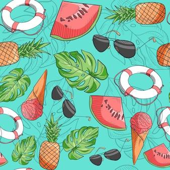 손으로 그린 된 여름 패턴