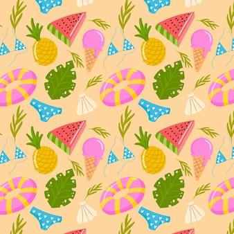 Hand drawn summer pattern