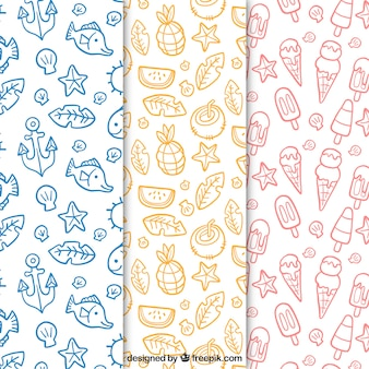 Hand-drawn summer patterns with linear items