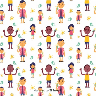 Hand drawn summer people pattern