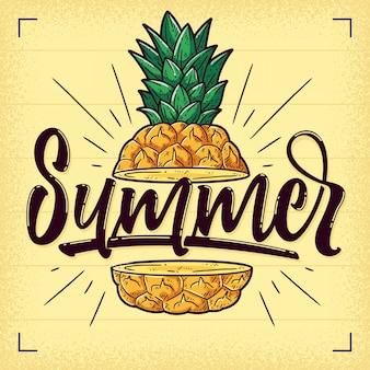 Hand drawn summer pineapple background