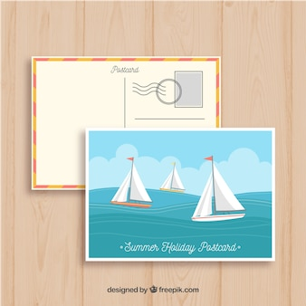 Hand drawn summer post card template with sailing boats