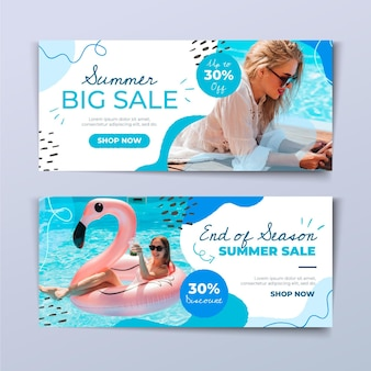 Hand drawn summer sale banner template with photo