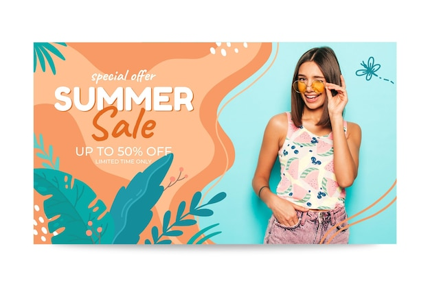 손으로 그린 여름 판매 배너 서식 파일 사진