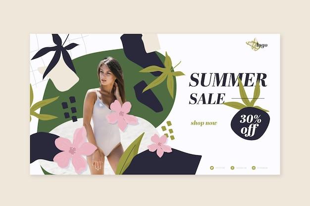 손으로 그린 된 여름 판매 배너 사진
