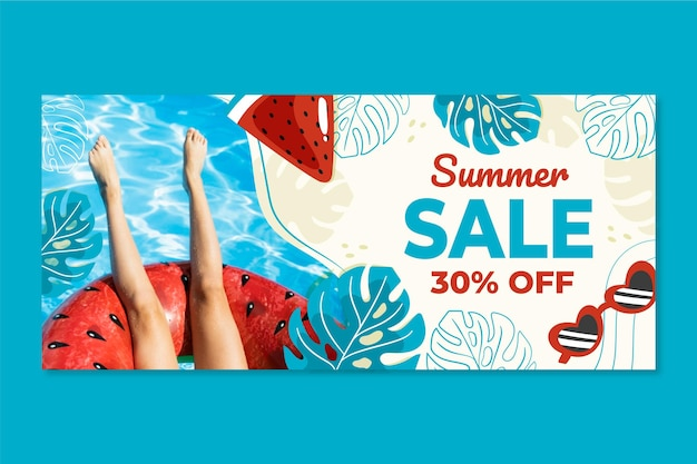 Hand drawn summer sale banner with photo