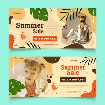 Hand drawn summer sale banners set with photo