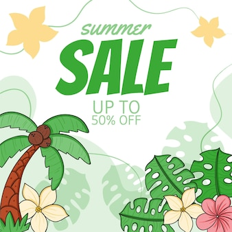 Hand drawn summer sale illustration
