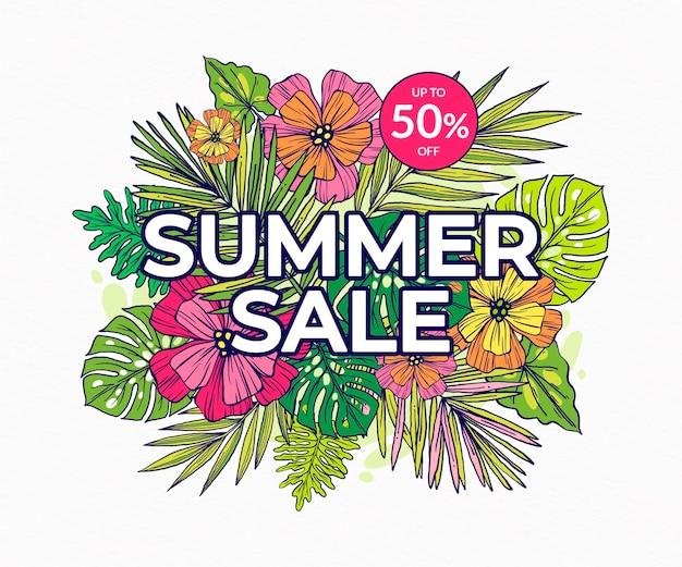 Illustrazione di vendita estiva disegnata a mano
