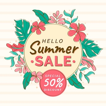 Hand drawn summer sale illustration
