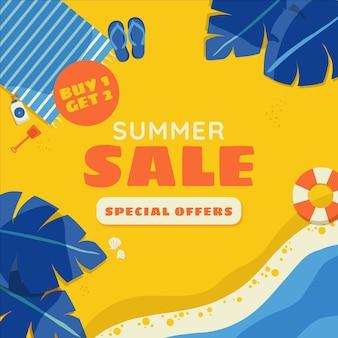 손으로 그린 여름 판매 그림
