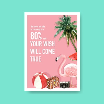 Hand drawn summer sale poster template