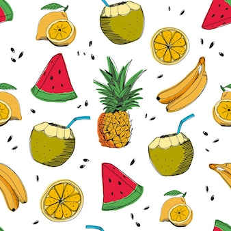 Hand drawn summer seamless pattern background