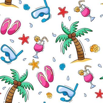 손으로 그린 된 여름 완벽 한 패턴