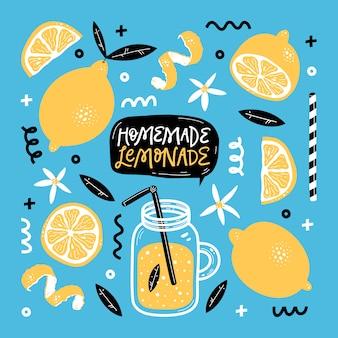 Hand drawn summer set with lemon, lemon slice, jar with lemonade, leaves, flowers and handwritten lettering.  illustration.
