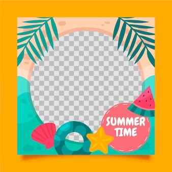 Hand drawn summer social media frame template