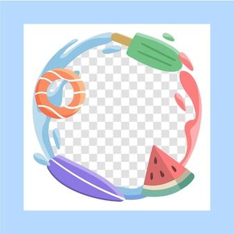 손으로 그린 여름 소셜 미디어 프레임 템플릿