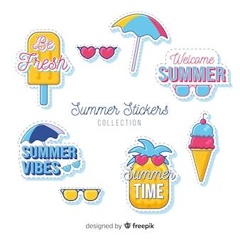 Hand drawn summer sticker collection