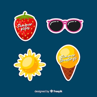 Hand drawn summer stickers pack