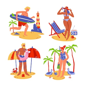 Hand drawn summer stickers set
