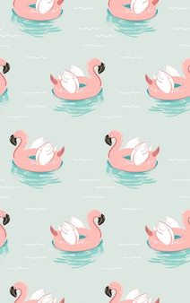 Hand drawn   summer time fun seamless pattern with pink flamingo float swimming pool buoy circle isolated