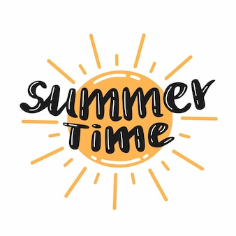 Hand drawn summer time lettering with sun vector illustration with text