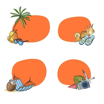 Hand drawn summer travel elements stickers set with copy space