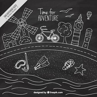 Hand drawn summer trip in chalkboard effect