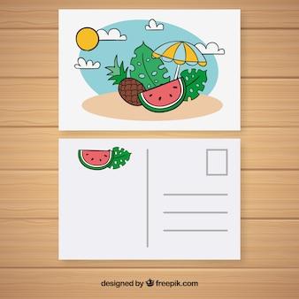 엽서 템플릿-손으로 그린 여름 여행