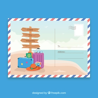 Hand drawn summer trip postcard template