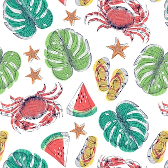 Hand drawn summer tropical leaves background with watermelon