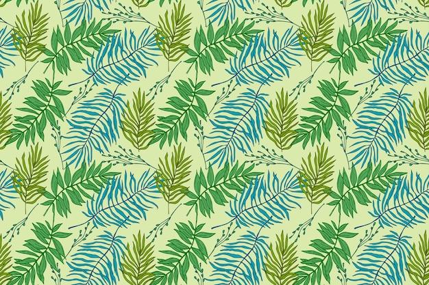 손으로 그린 된 여름 열 대 패턴
