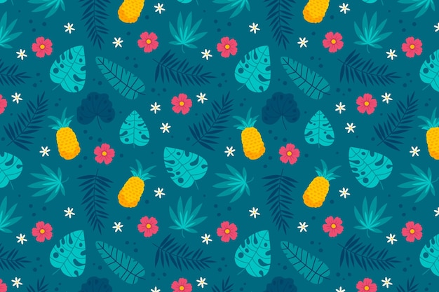 手描きの夏の熱帯パターン 無料ベクター