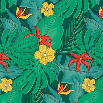Ручной обращается летний тропический узор
