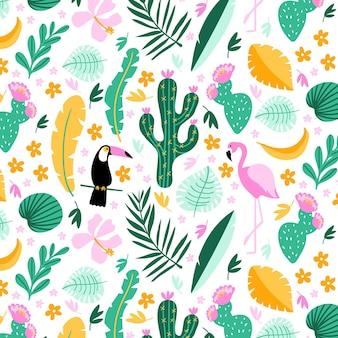 手描きの夏の熱帯パターン