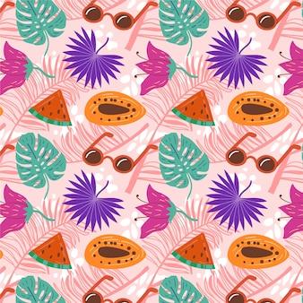 Hand drawn summer tropical pattern