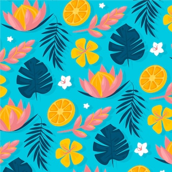 Hand drawn summer tropical pattern