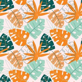 Modello tropicale estivo disegnato a mano