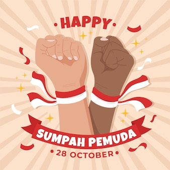 Hand drawn sumpah pemuda background